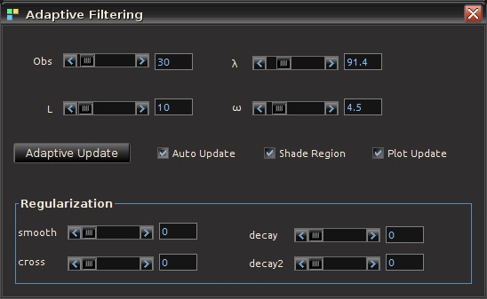 The panel interface for controlling every aspect of updating a filter.