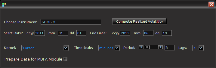 Figure : Computing Realized measures in iMetrica using a convenient realized measure control panel.