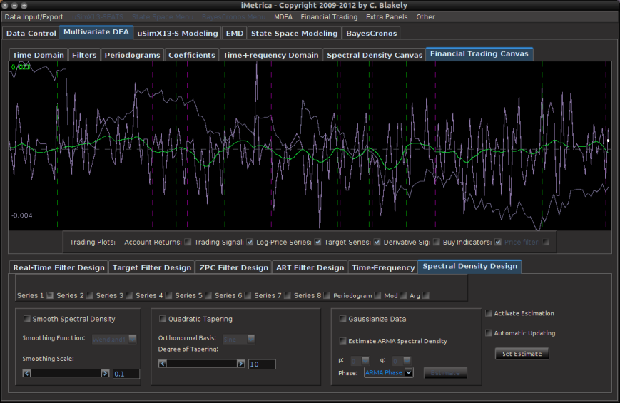 Figure 4: The iMetrica MDFA module for constructing the trading filters. Features dozens of design, analysis, and optimization components to fit the trading priorities of the user and is used in conjunction with the TWS-iMetrica interface.